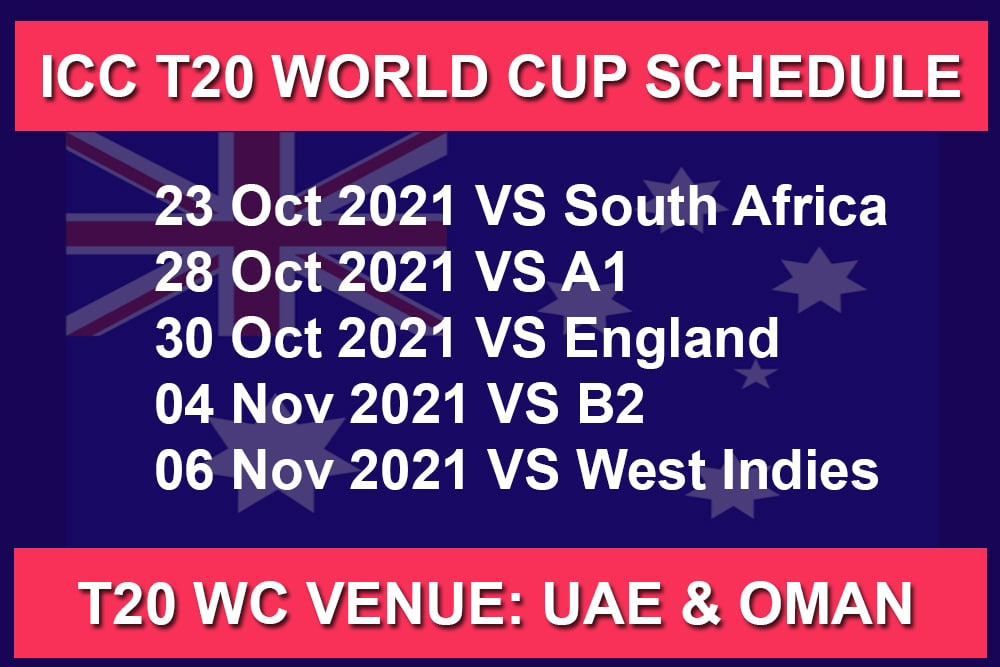 Australia Schedule Matches For ICC Men's T20 World Cup