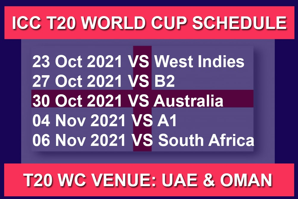 England Schedule Matches for ICC Men's T20 World Cup 2021