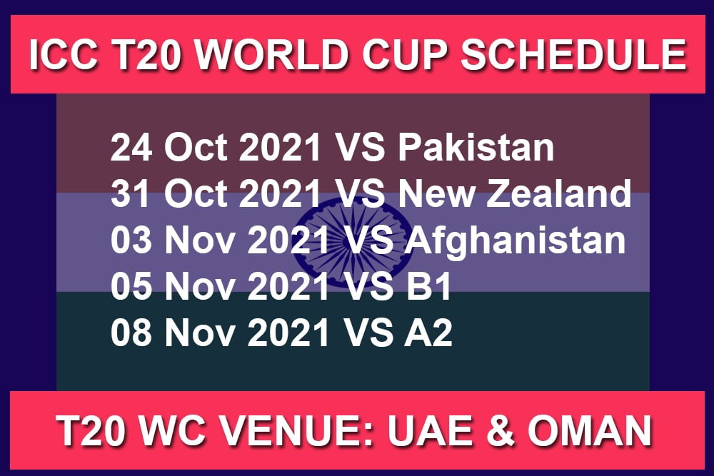ICC Men's T20 World Cup 2021 India Schedule Matches