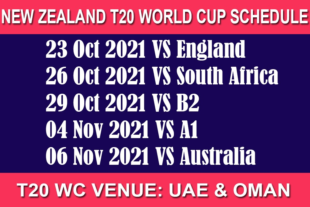 New Zealand T20 World Cup Schedule