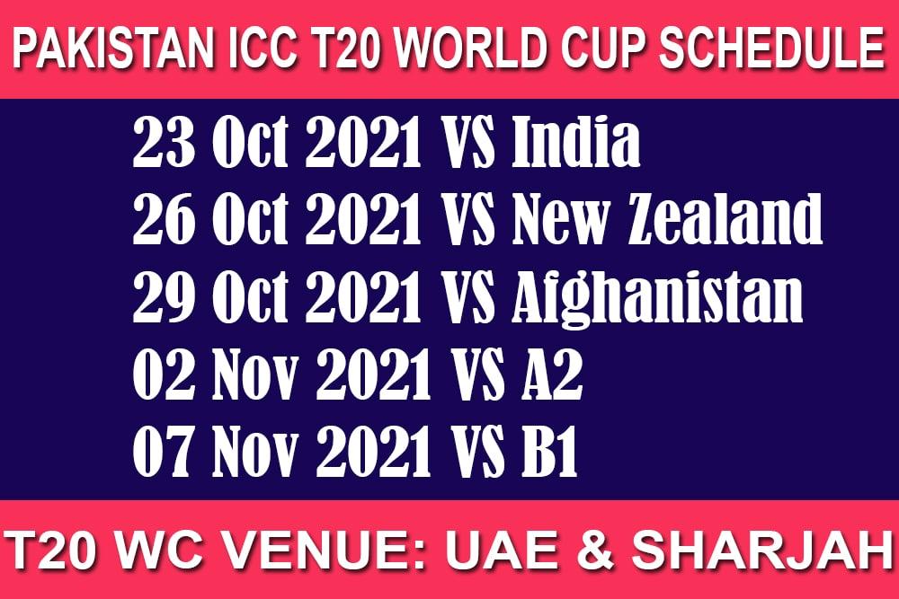 Pakistan T20 World Cup 2021 Schedule