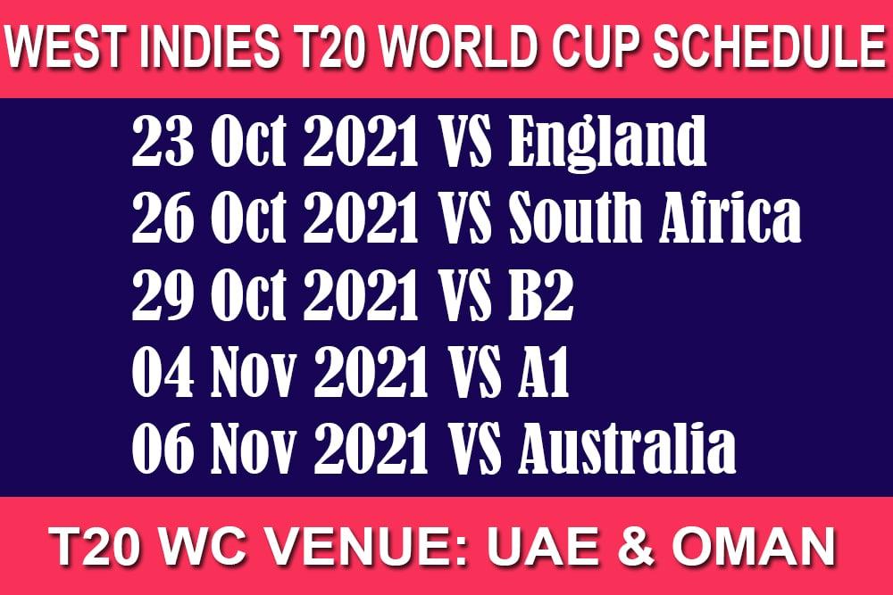 West Indies T20 World Cup Schedule